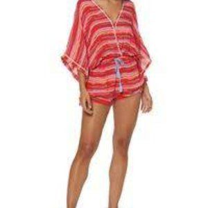 Dolce Vita Red Striped Kimono Belted Romper NWT